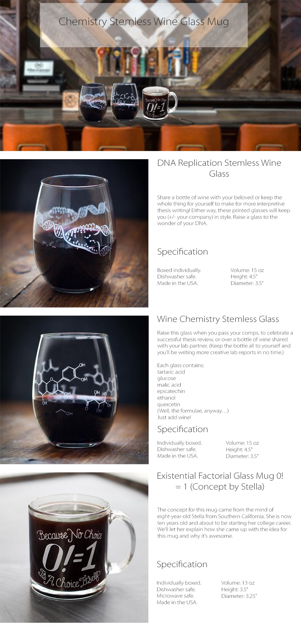Chemistry Stemless Wine Glass Keep You In Style