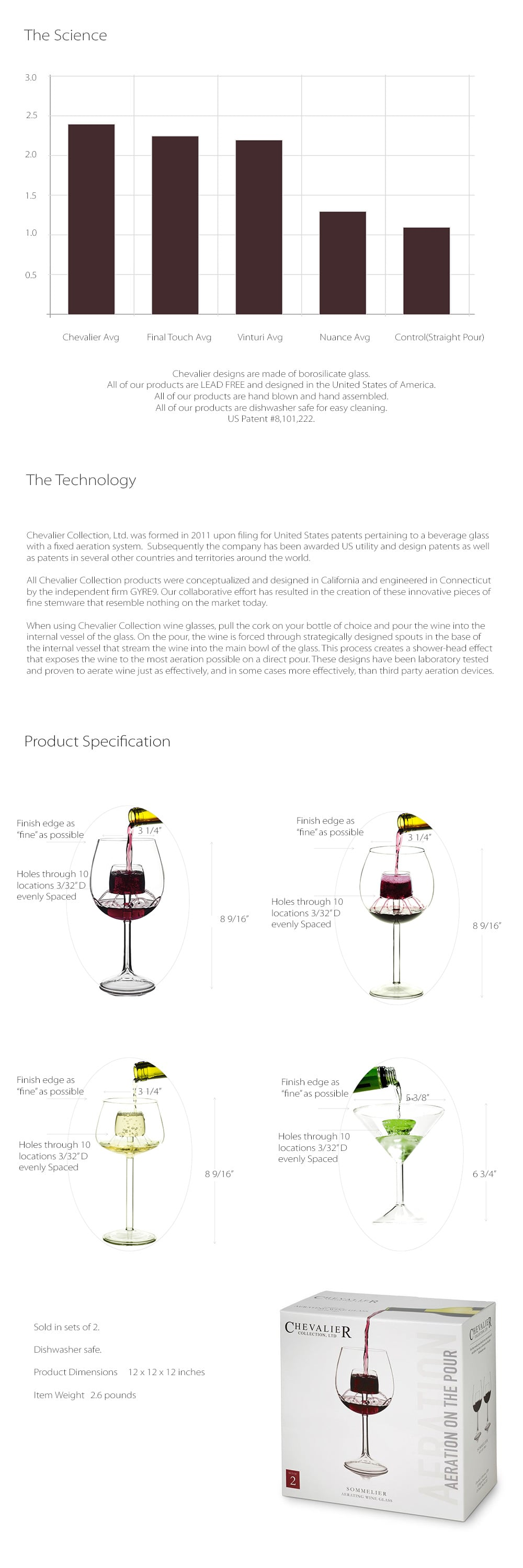 Chevalier Wine Glass Collection (Set of 2) Enjoy The Full Taste Of Your Wine