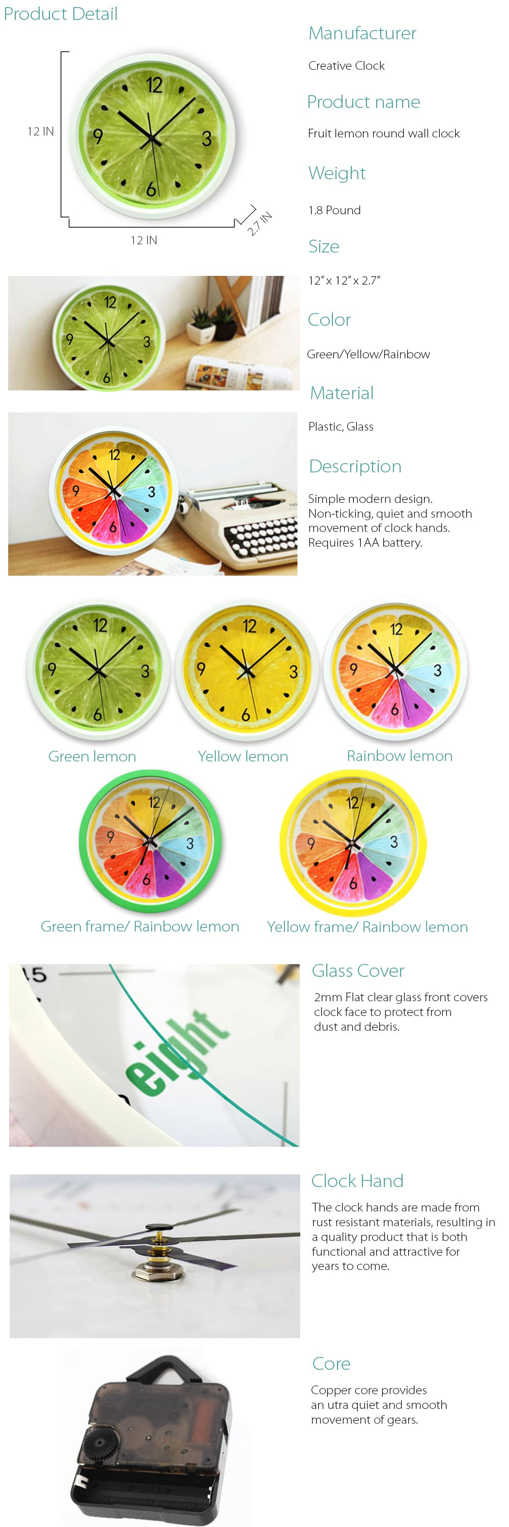 Fruit Lemon Wall Clock Lemon On Your Wall