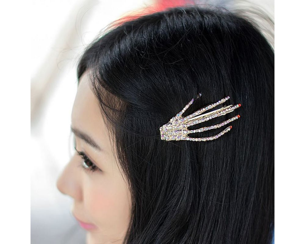 Crystal Skeleton Hand Hair Clips Set Of
