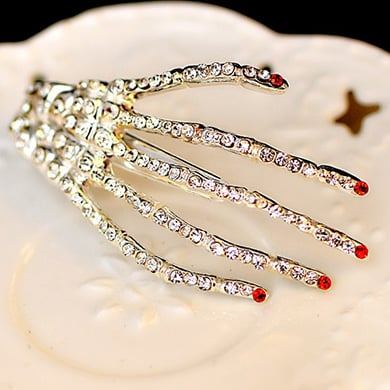 Crystal Skeleton Hand Hair Clips (Set of 2)
