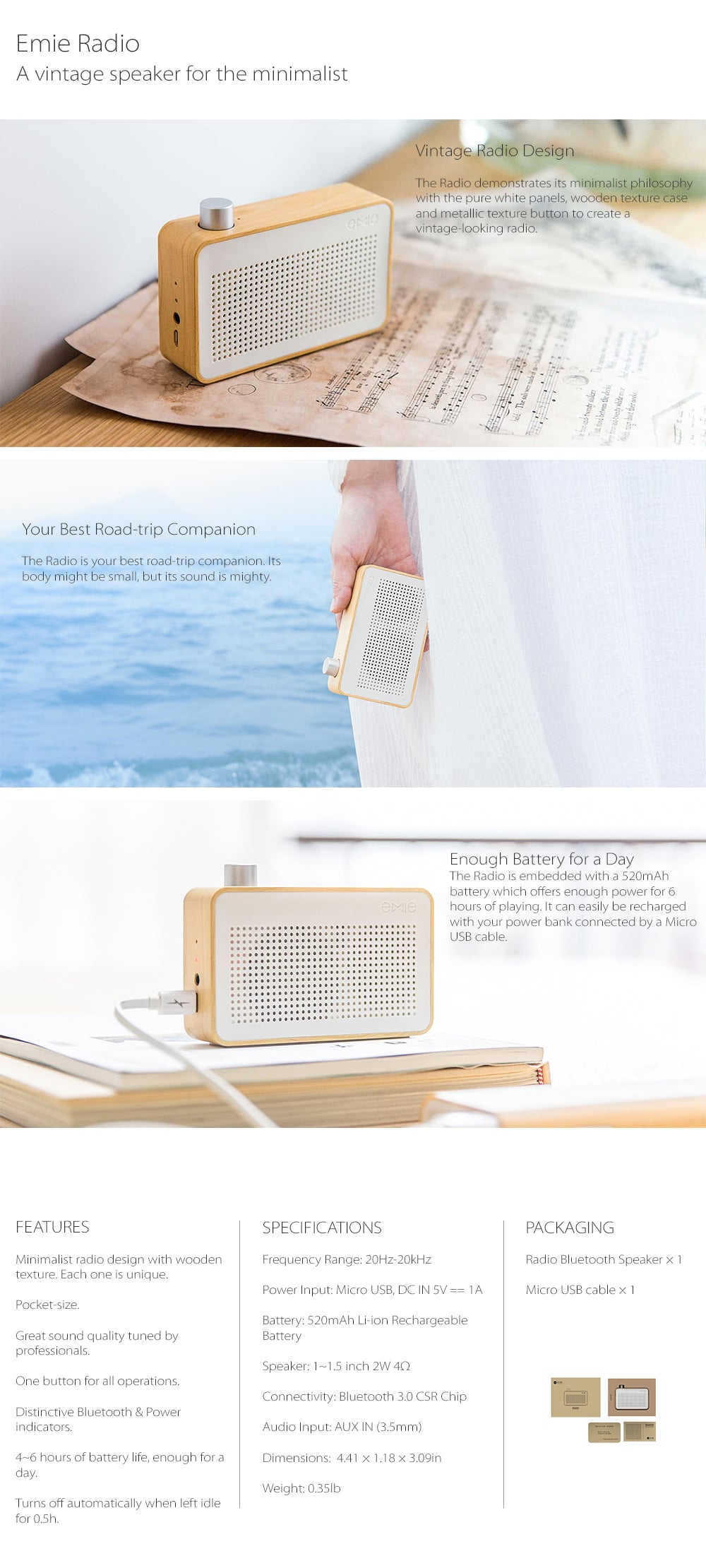 Vintage Wooden Bluetooth Speaker Radio For The Minimalist