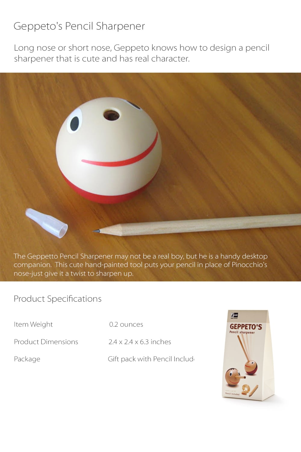 Geppeto's Pencil Sharpener Long Nose Or Short Nose