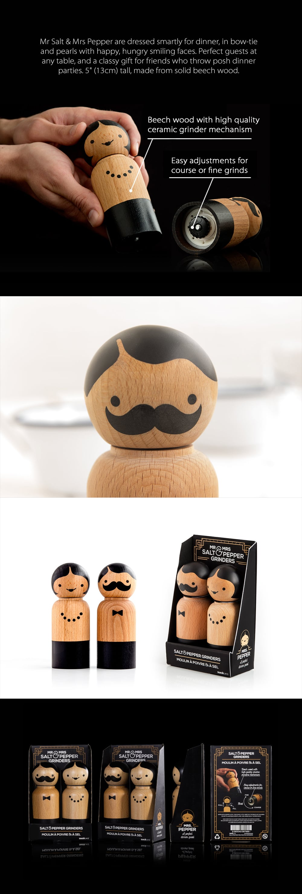 Mr Salt and Mrs Pepper Smartly Dressed Wooden Grinders