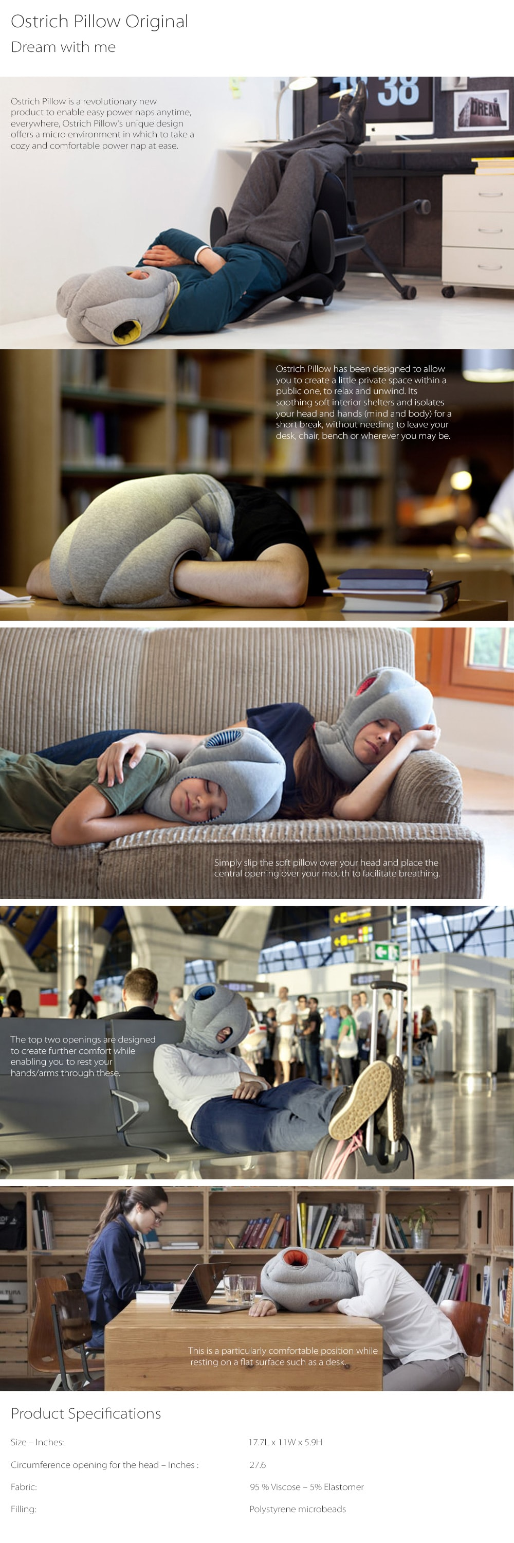 Ostrich Pillow Original Revolutionary Power Napping Device
