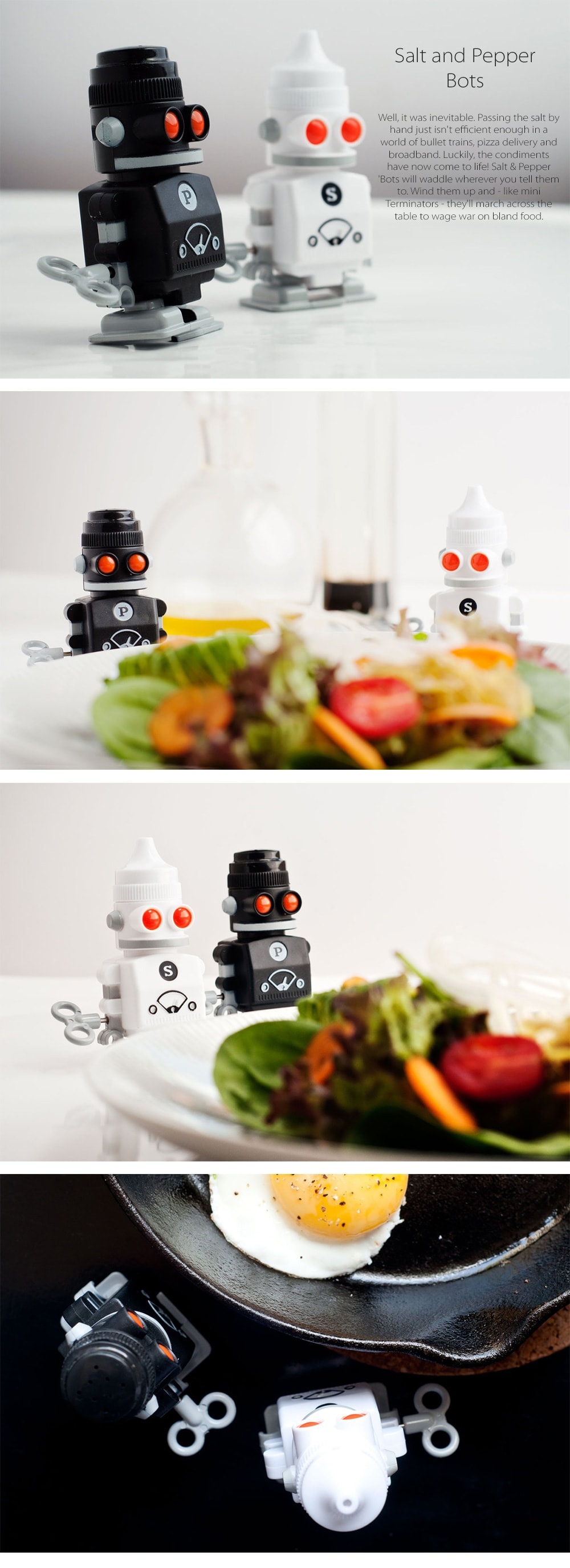 Salt & Pepper Bots Mini Terminators On The Table