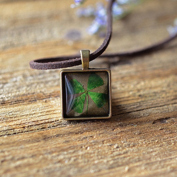 Pressed Four Leaf Necklace