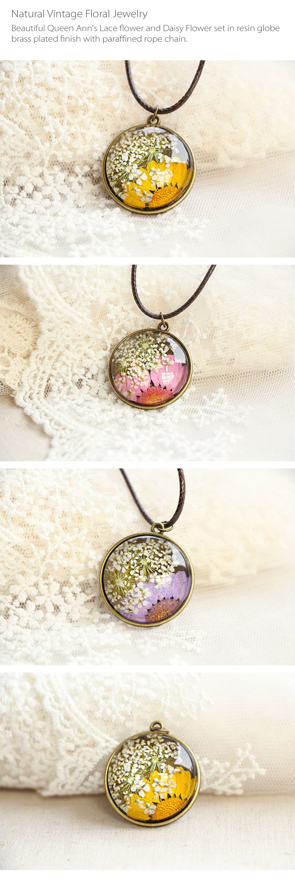 Pressed Flower Necklace Natural Vintage Floral Jewelry