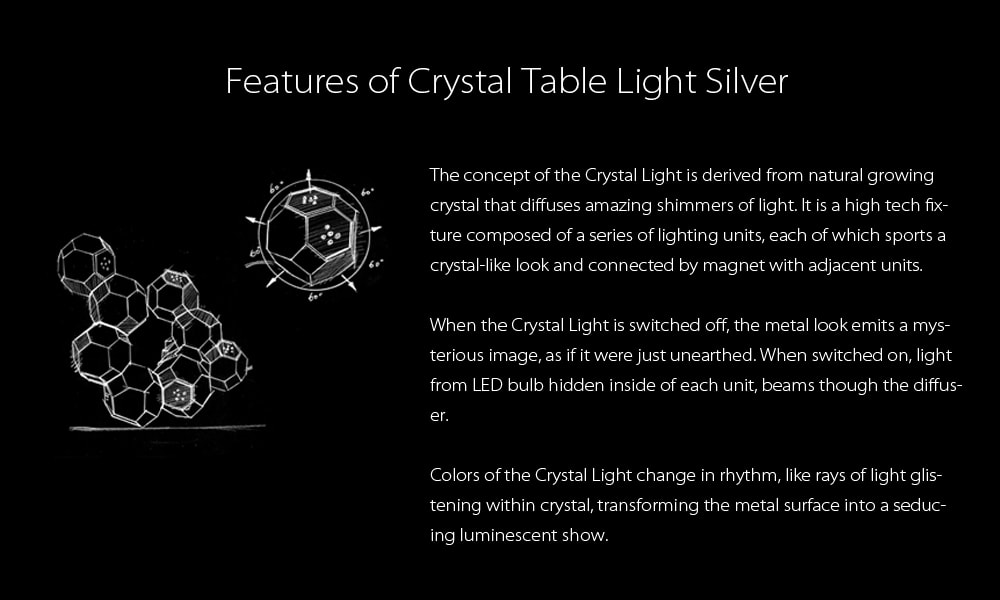 Crystal Table Light Silver Art From QisDesign