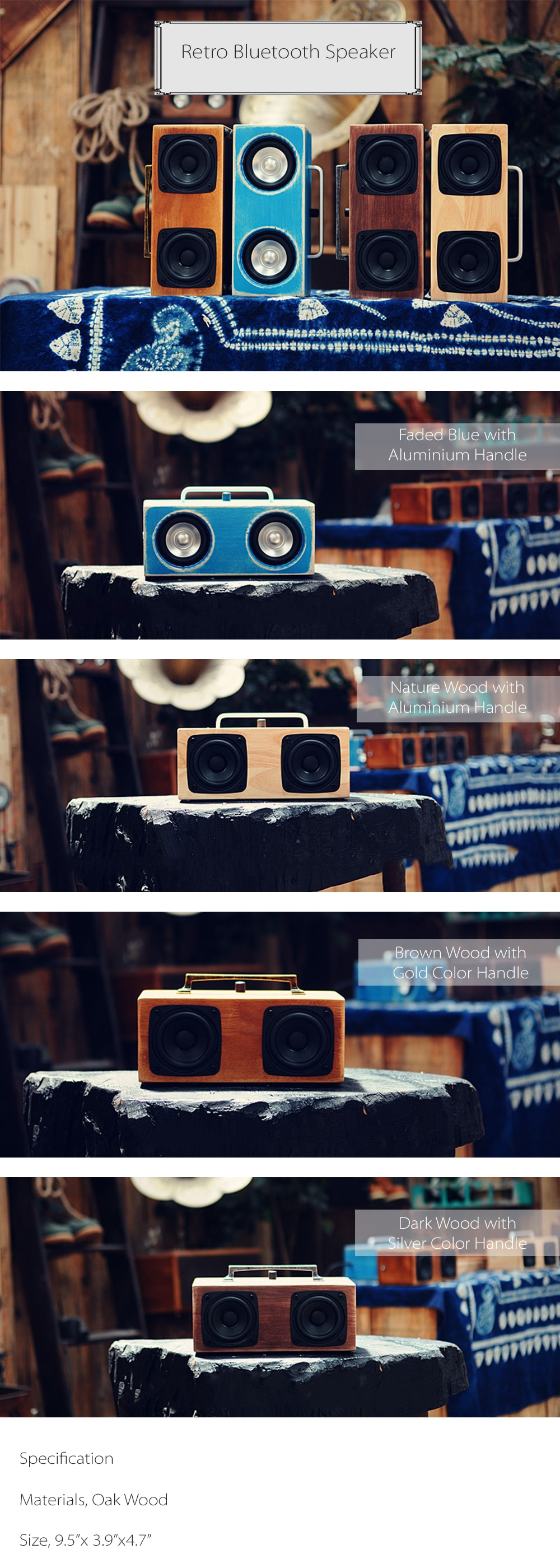 Retro Bluetooth Speaker Speaker Made From Wood