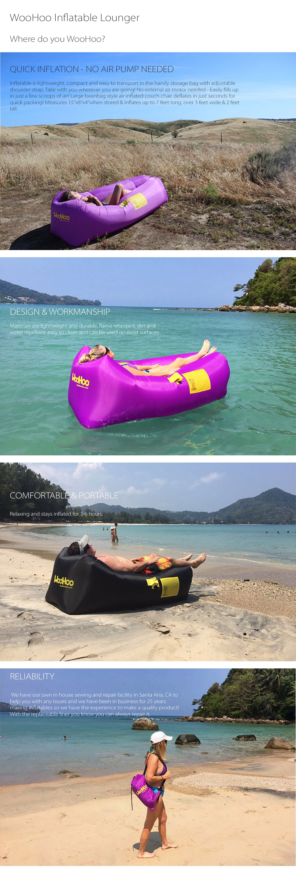 WooHoo Air Filled Inflatable Lounger Where Do You WooHoo