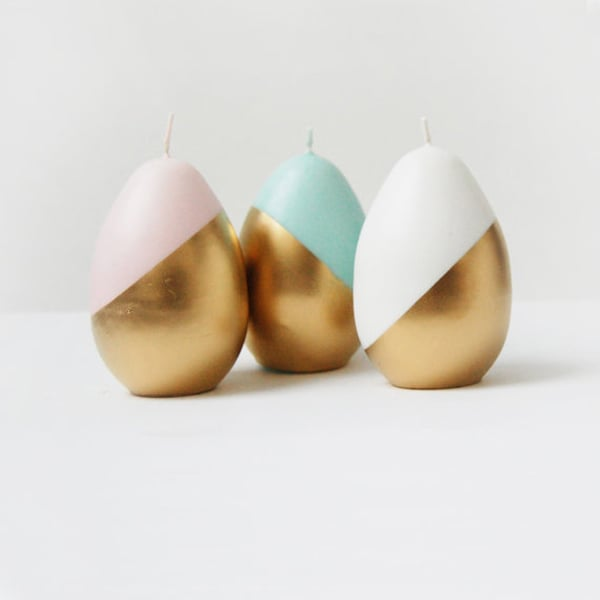 Gold Painted Candles (Set of 3)