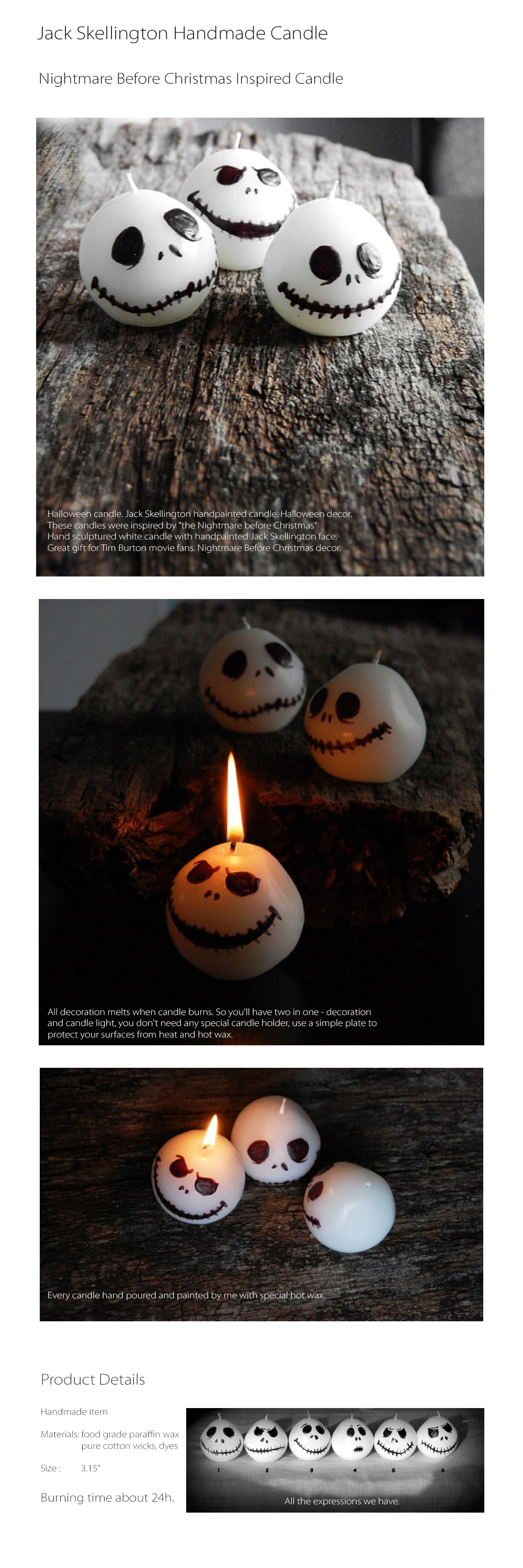 Jack Skellington Handmade Candle Halloween Candles