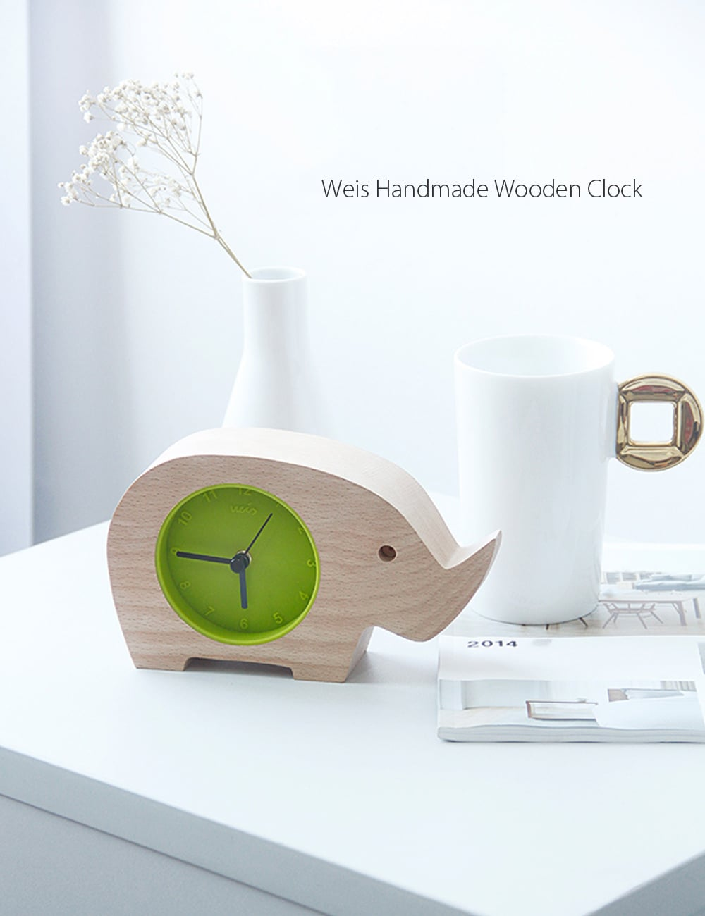 Weis Handmade Elephant Wooden Clock It is About Nature and Time.