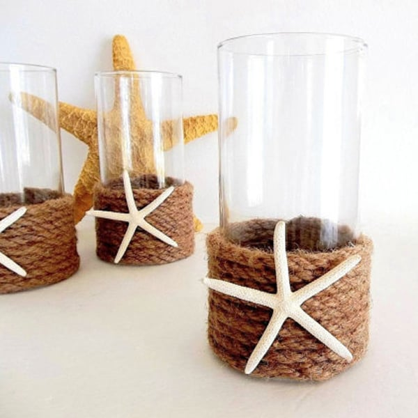 Starfish Rope Vase or Candle Holder