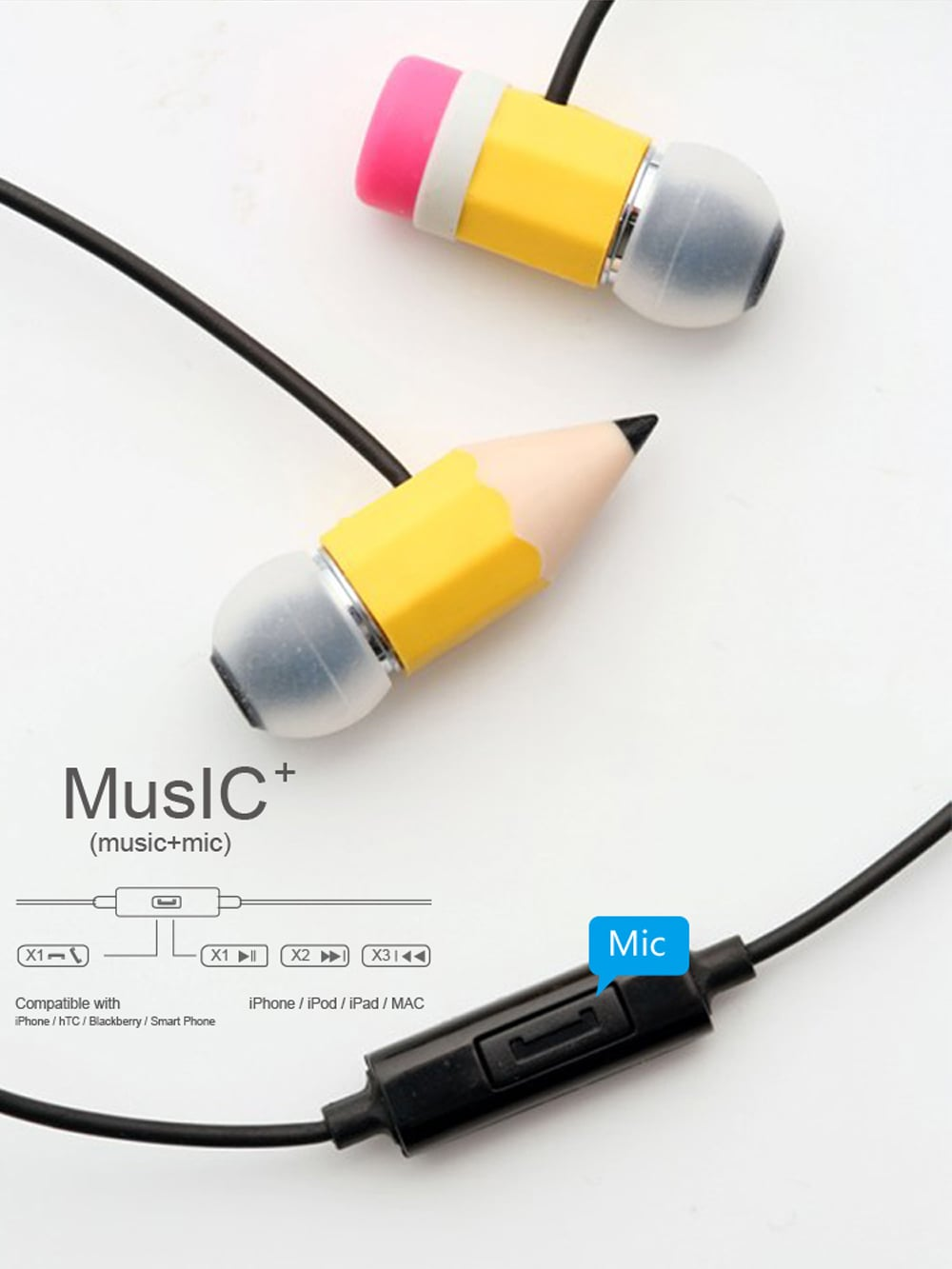 Magic Pencil Earphones Have a Pencil Going Through Your Head
