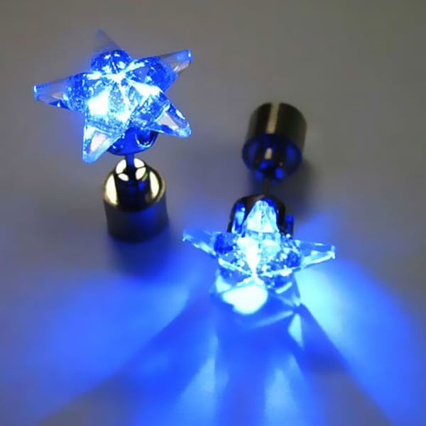 Color Led Earrings Light Up Glowing Studs Ear Ring Drop: LED Multi-Color Earrings