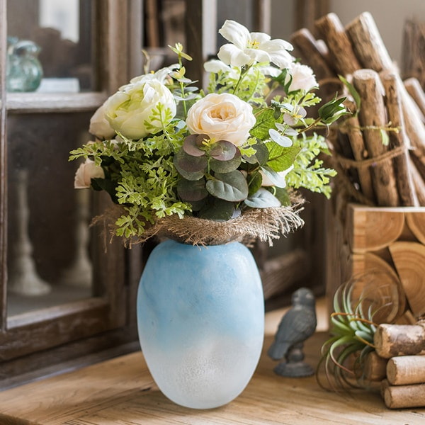 Ombre Blue Frosted Vase