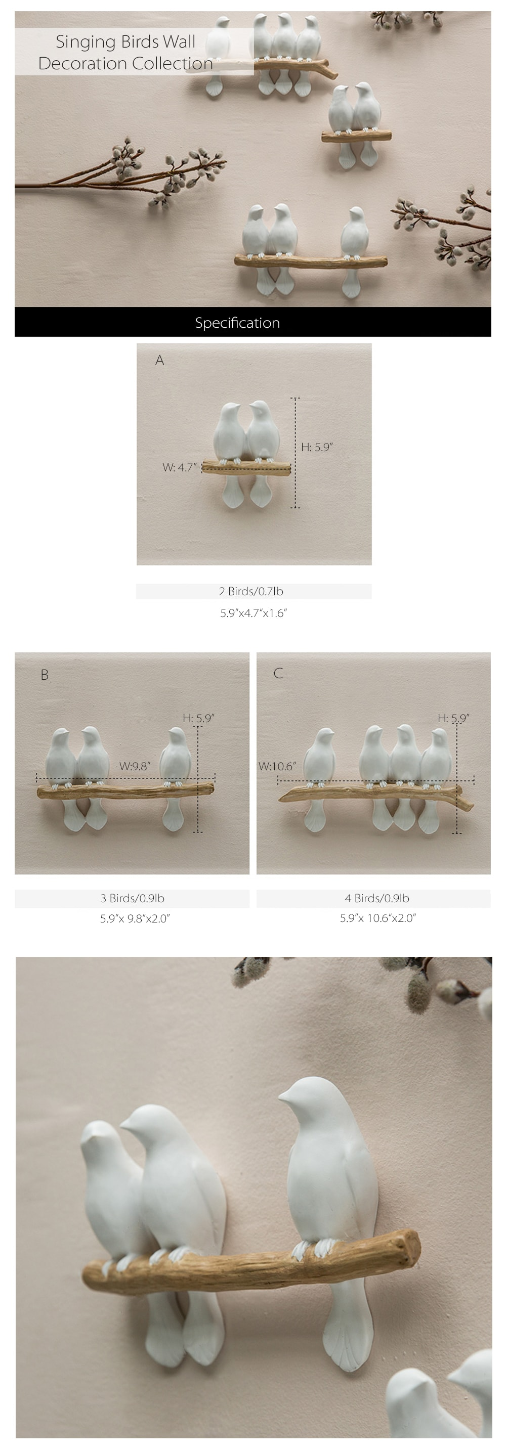 Singing Birds Wall Decoration Lovely Birds At Your Home