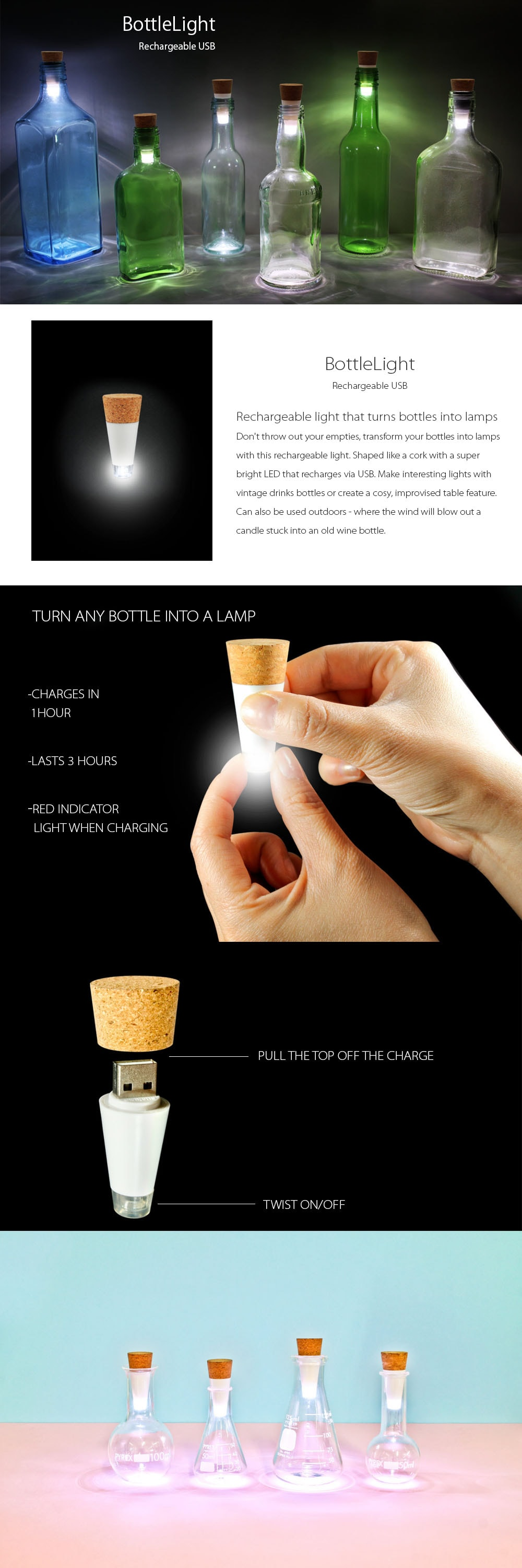 Bottlelight Rechargeable Light That Turns Bottles Into Lamps