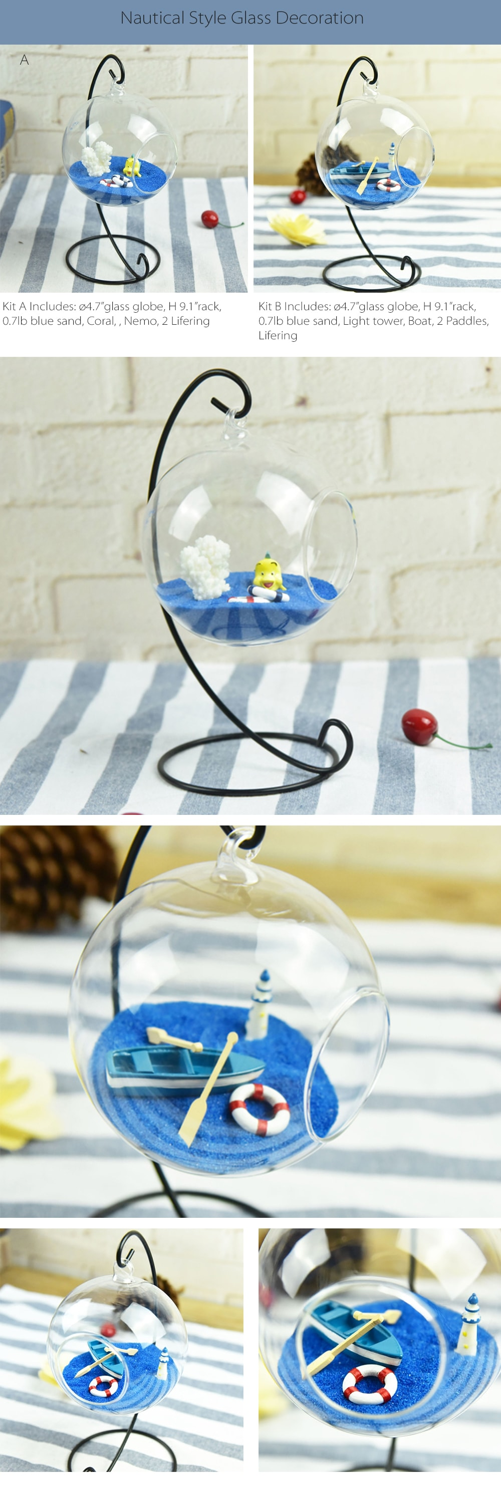 Nautical Style Glass Decoration Collection Perfect Table Decoration Stuff
