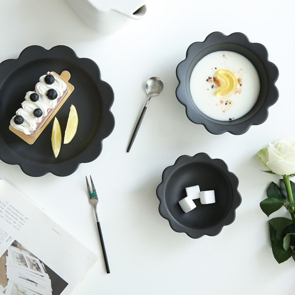 Ceramic Flower Bowl & Plate Set