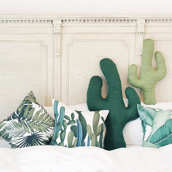 product image for Cactus Throw Pillow (Dark Green)