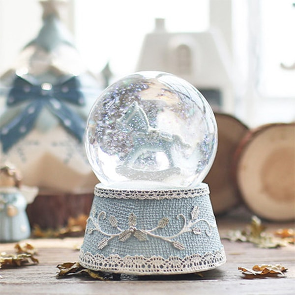 Little Blue Pony Musical Water Globe