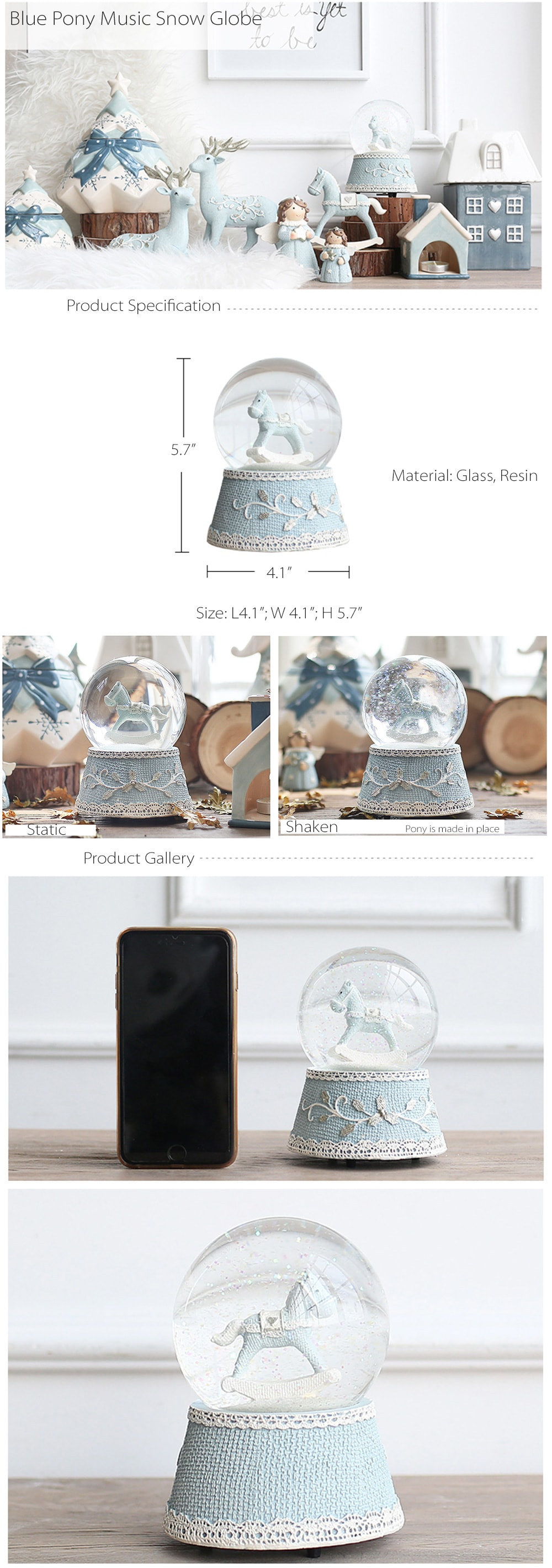 Little Blue Pony Musical Water Globe  Dreamy Gifts