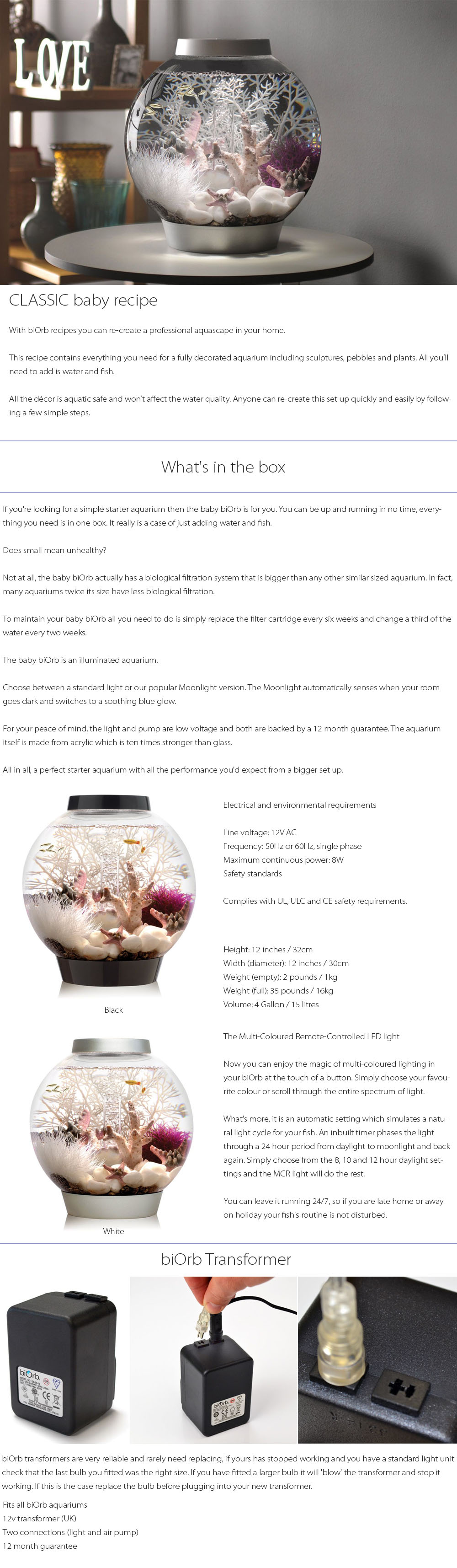 BiOrb CLASSIC Baby Recipe Create A Professional Aquascape In Your Home