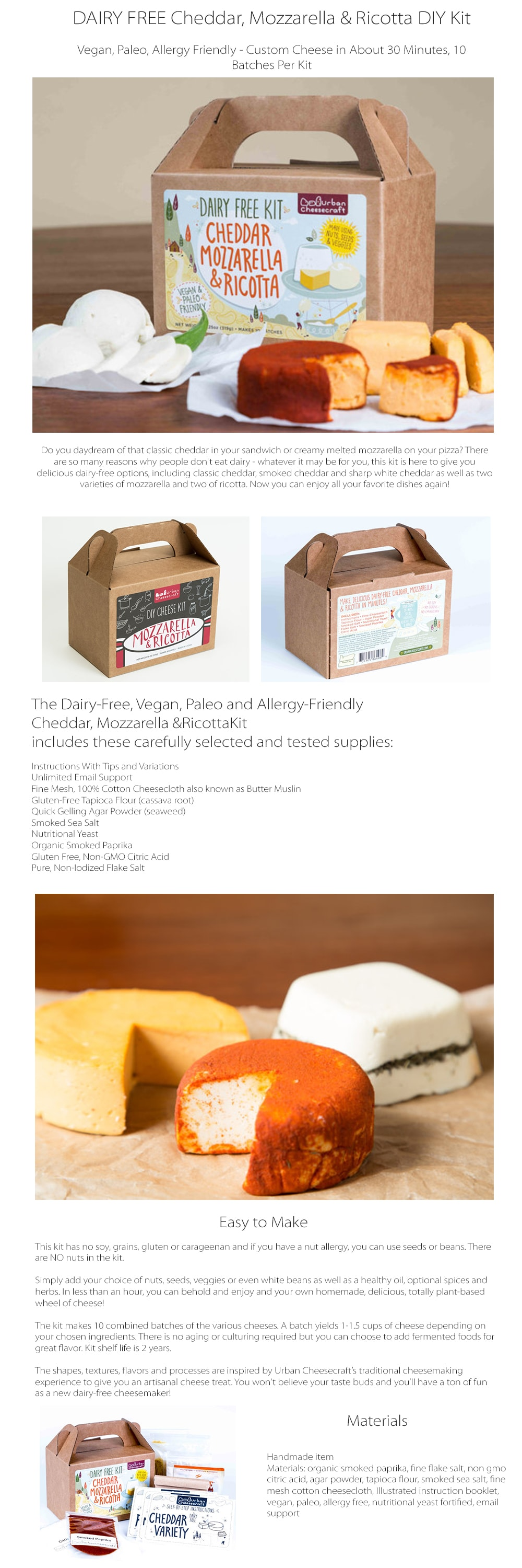 DAIRY FREE Cheddar, Mozzarella & Ricotta DIY Kit Custom Cheese in About 30 Minutes