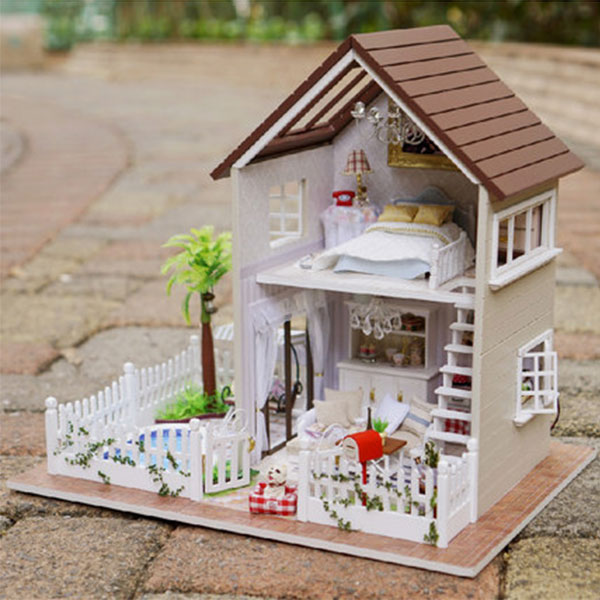 New Doll House Toy Miniature Wooden Doll House Loft With: DIY Paris Apartment Wooden Dollhouses