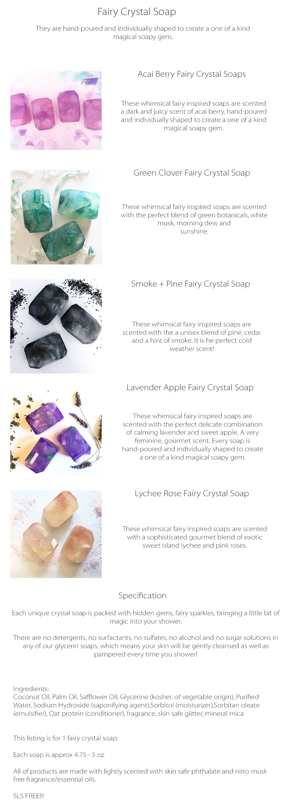 Fairy Crystal Soap Whimsical Fairy Inspired Soaps