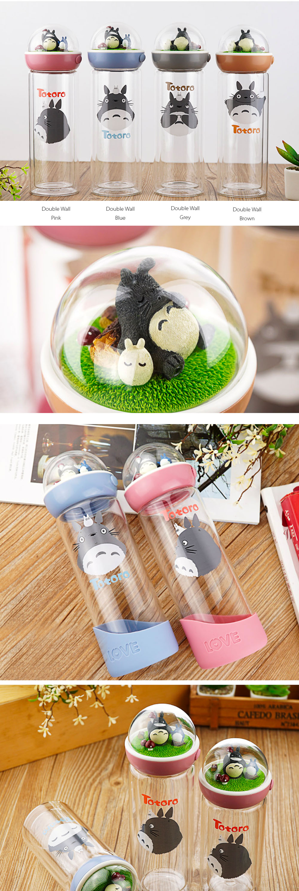 Totoro Glass Water Bottles Guardian of the Forest Travel Thermos