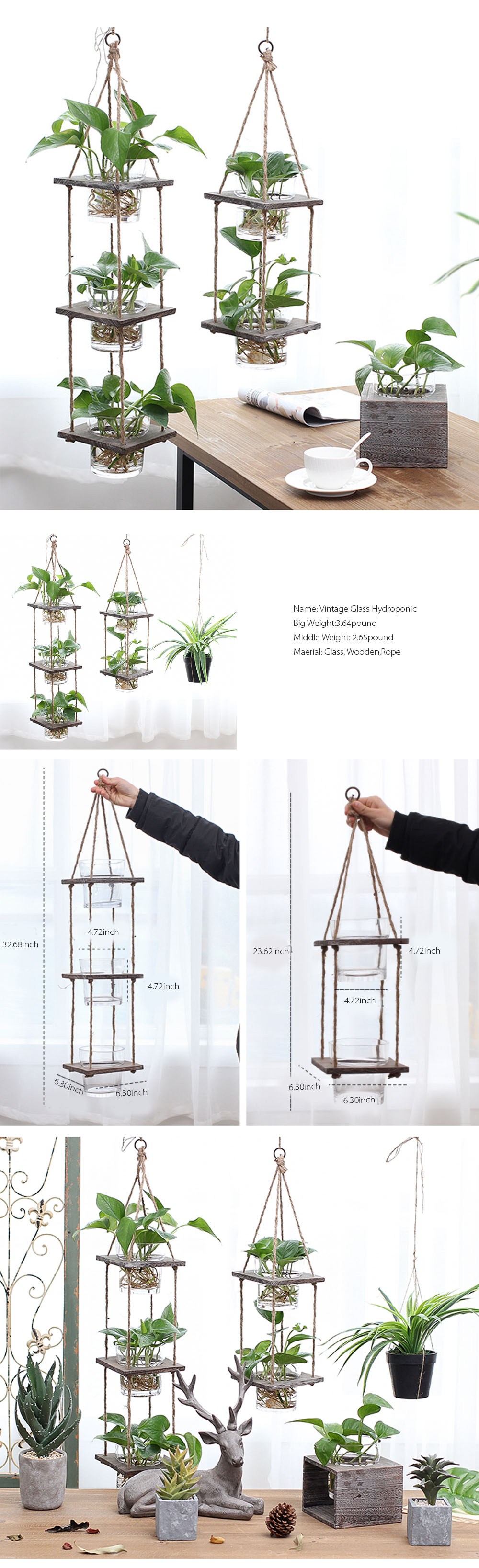 Hanging Wood Planter Hanging Indoor or Outdoor