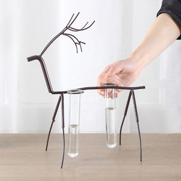 product thumbnail image for Metal Deer Stand with Test Tube Vases