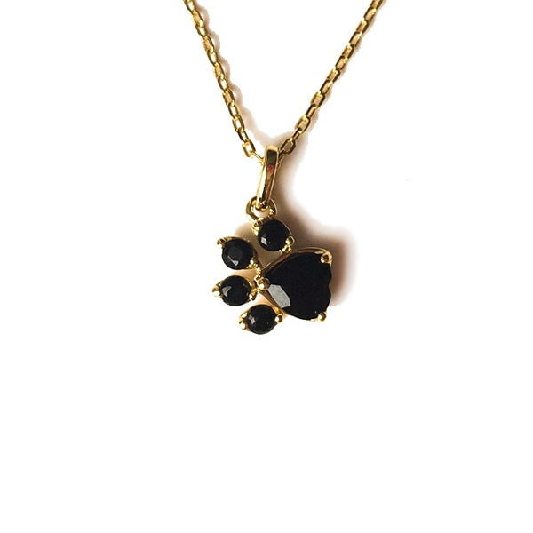 Crystal Cat Paw Print Necklace