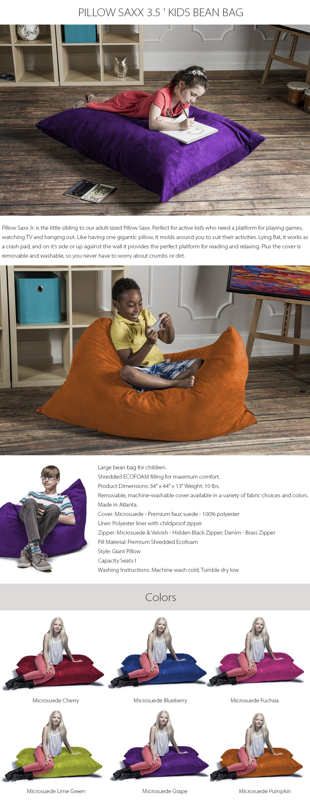 PILLOW SAXX 3.5 ' KIDS BEAN BAG Perfect for your kids