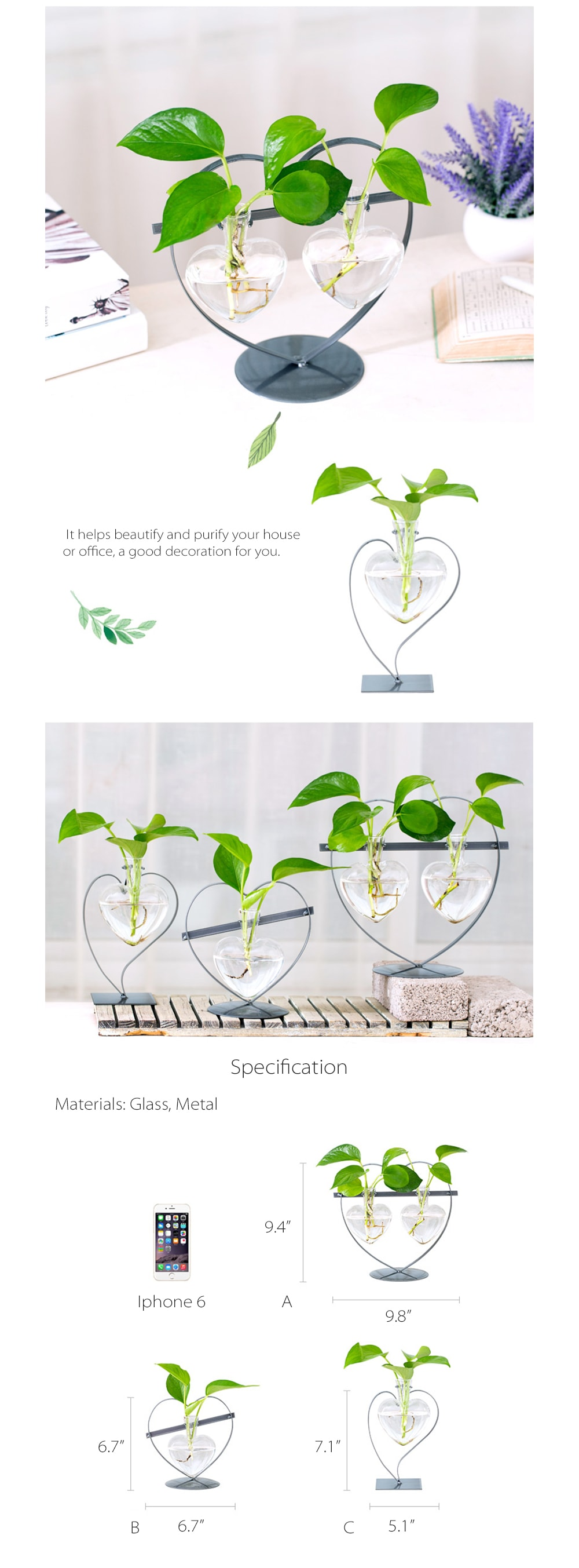 Heart Shaped Glass Vase with Metal Stand Stylish Hydroponic Vases