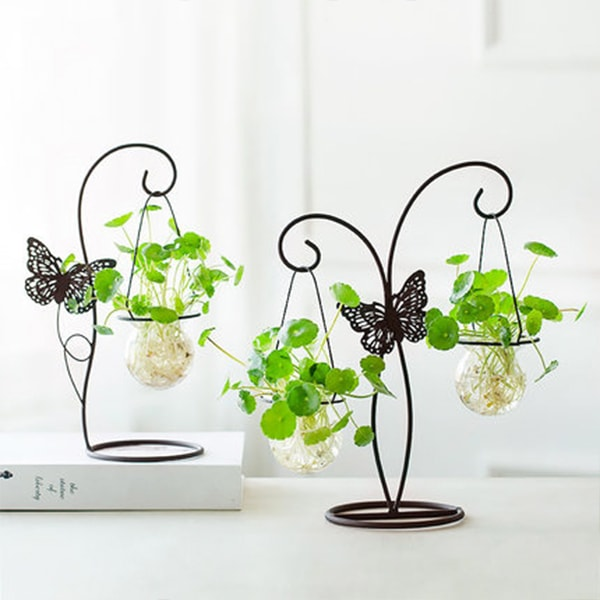 Glass Vase with Butterfly Metal Stand