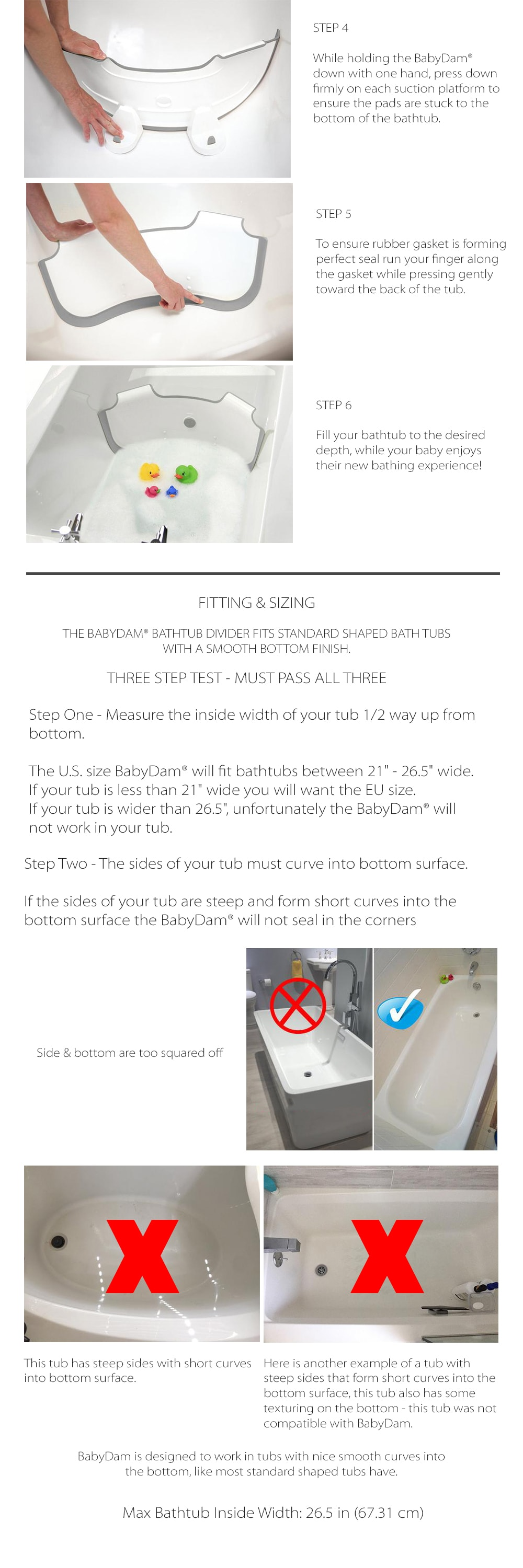 BabyDam Bathtub Divider Customize Your Bathtub
