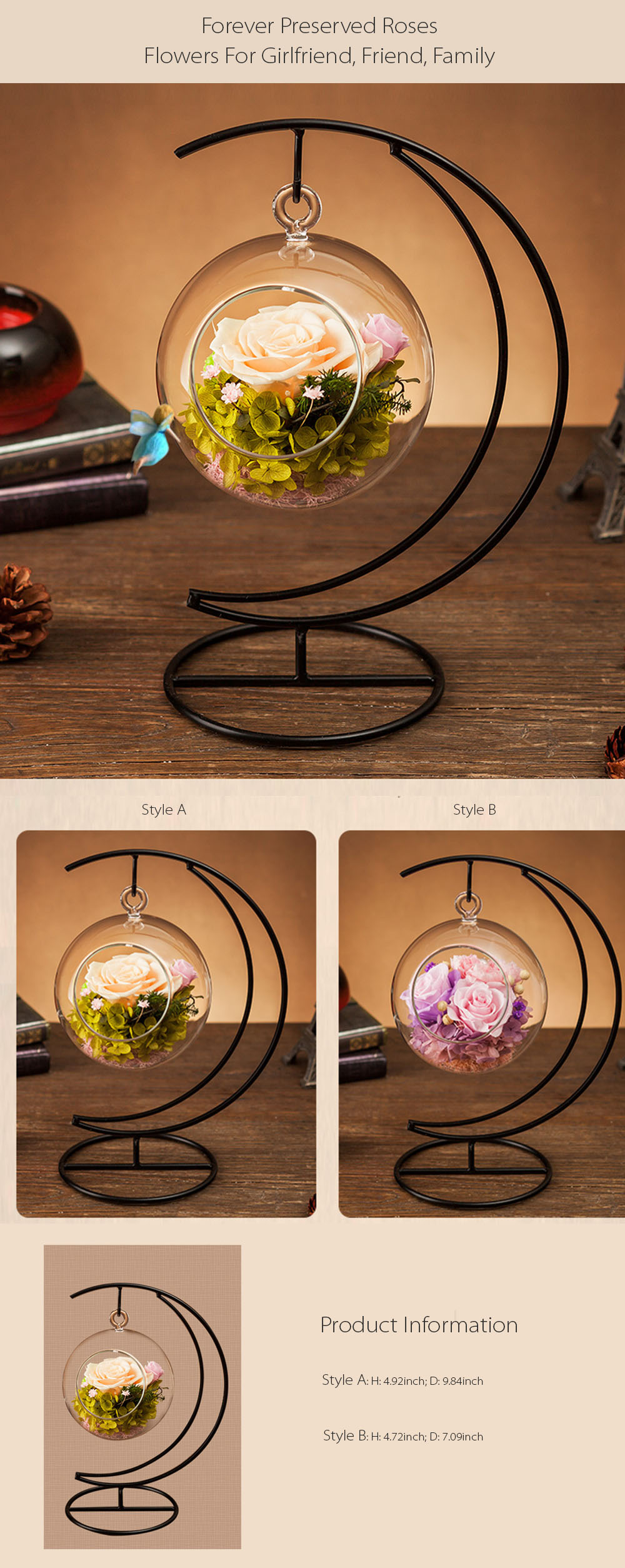 Forever Love Rose Ball with Metal Stand Keep the Spring Inside