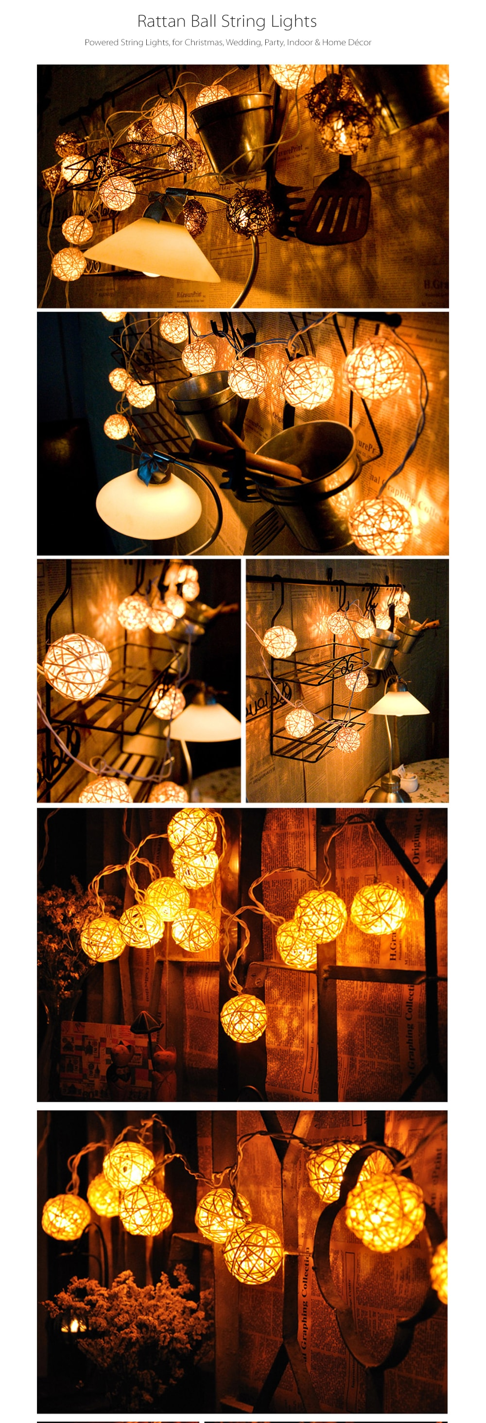 Rattan Ball String Lights Warm Your House