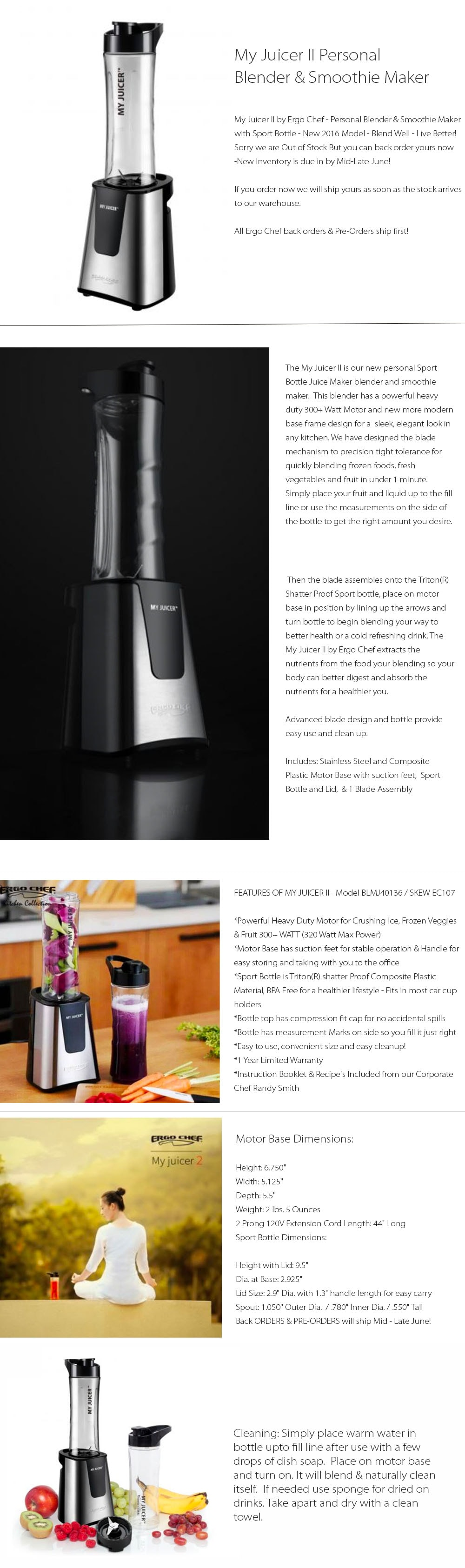 My Juicer II Personal Blender & Smoothie Maker Make Yourself Fresh Blended Juice