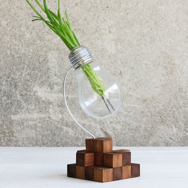 Cube Upcycled Lightbulb Vase Apollobox