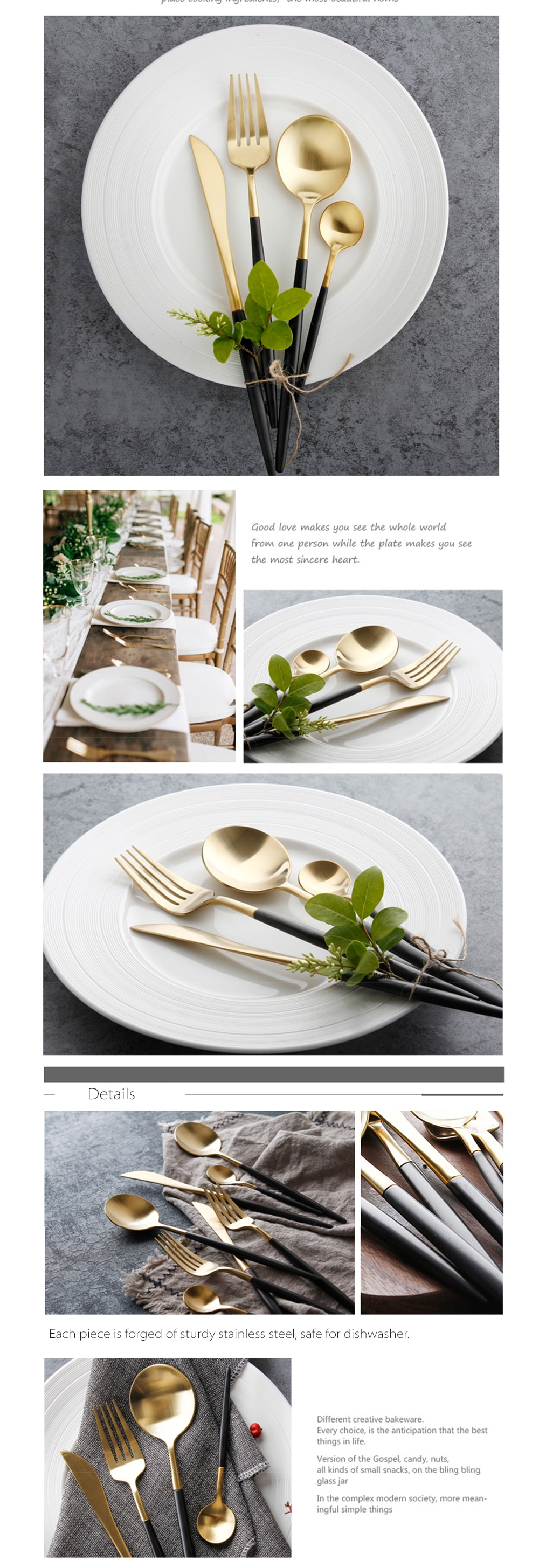 Gold Cutlery Set Attractive and Simple
