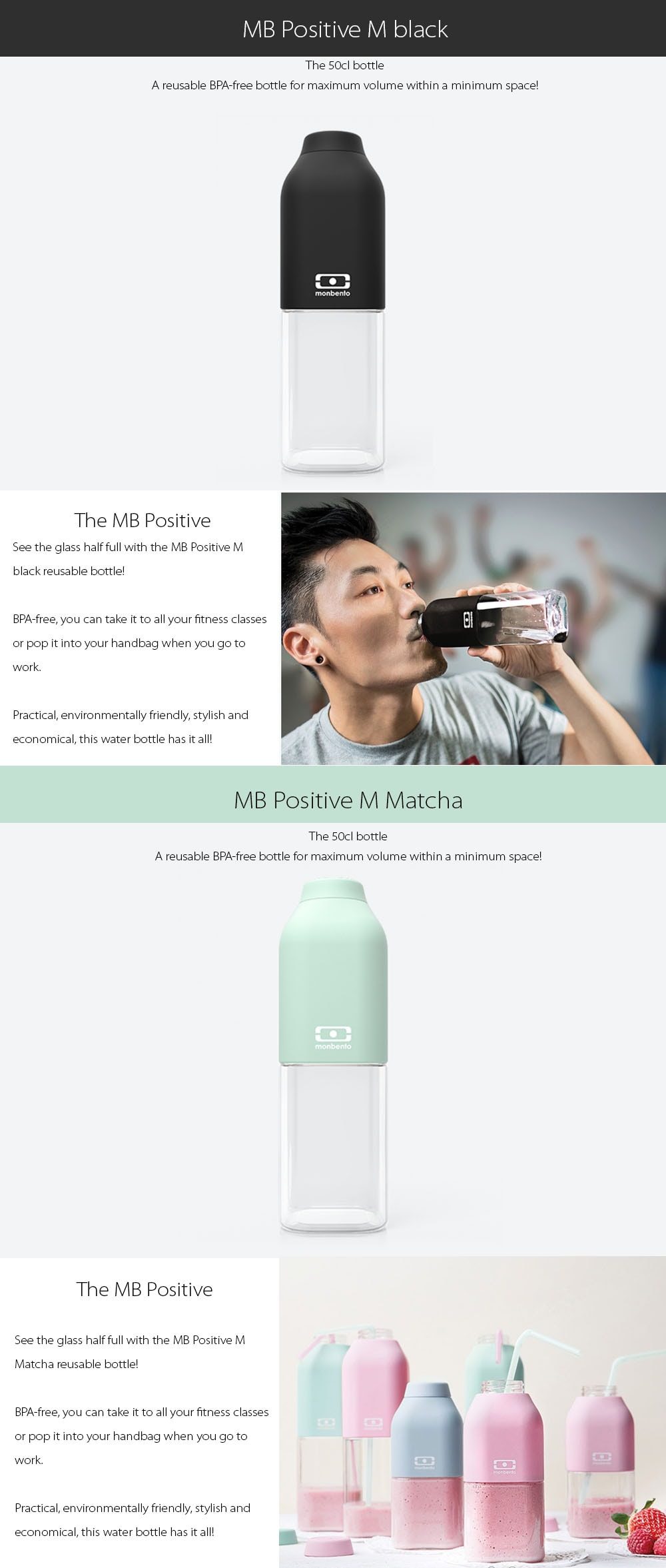 MB Positive 50cl Bottle A reusable BPA-free bottle