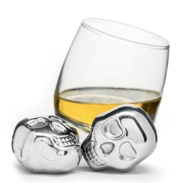 Skull Ice Cubes in Stainless Steel, 2-Pack