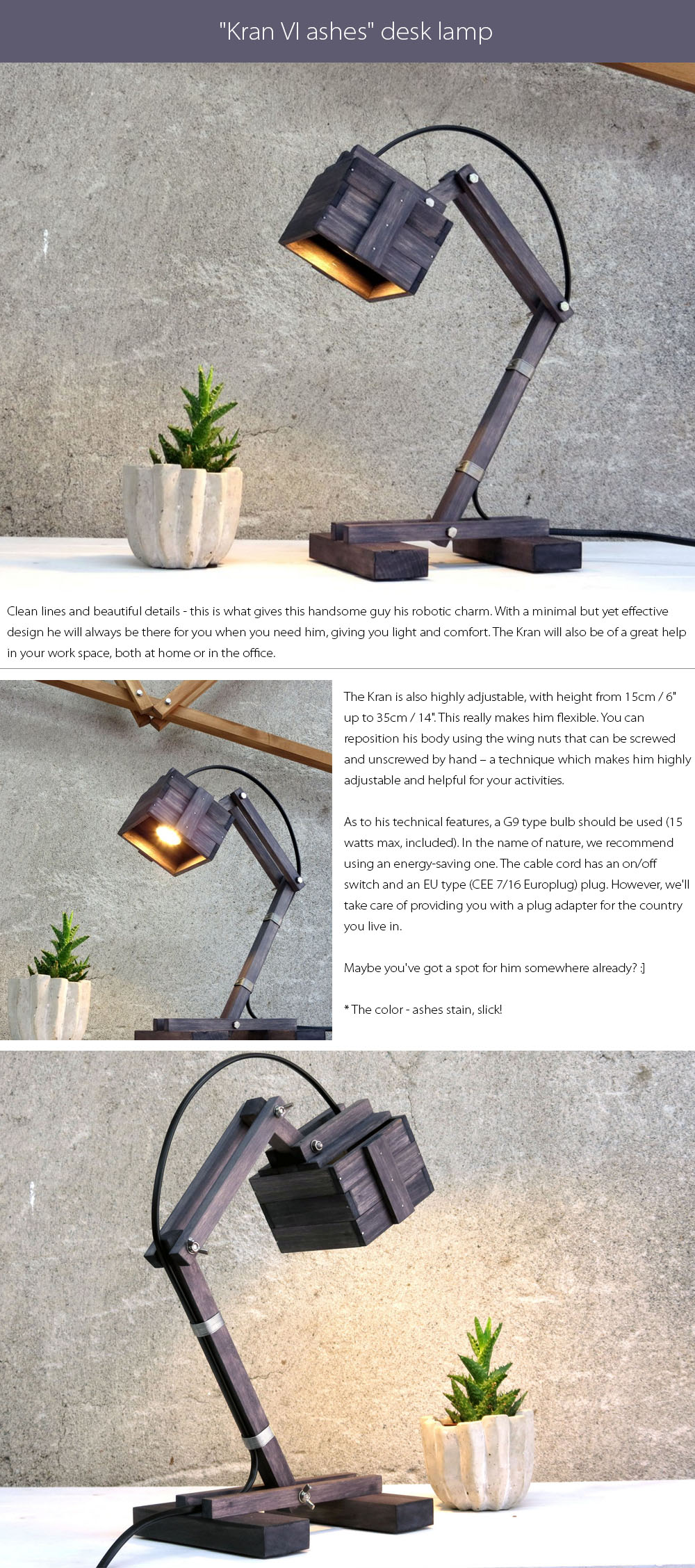 Kran Desk Lamps Clean lines and beautiful details