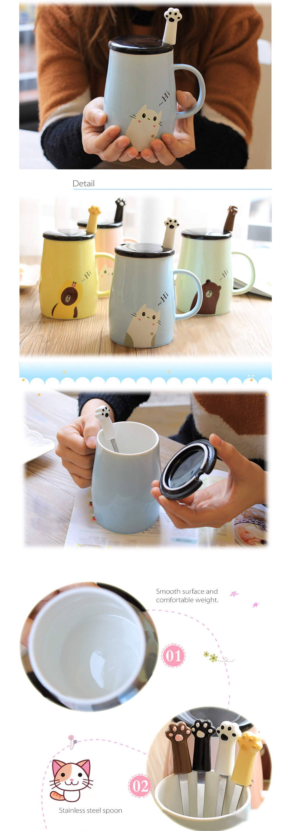 Ceramic Coffee Mug and Spoon Set Hi~